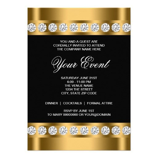 """Black and Gold Invitation Template Black Gold Black Tie Corporate Party Template 4 5"""" X 6 25"""