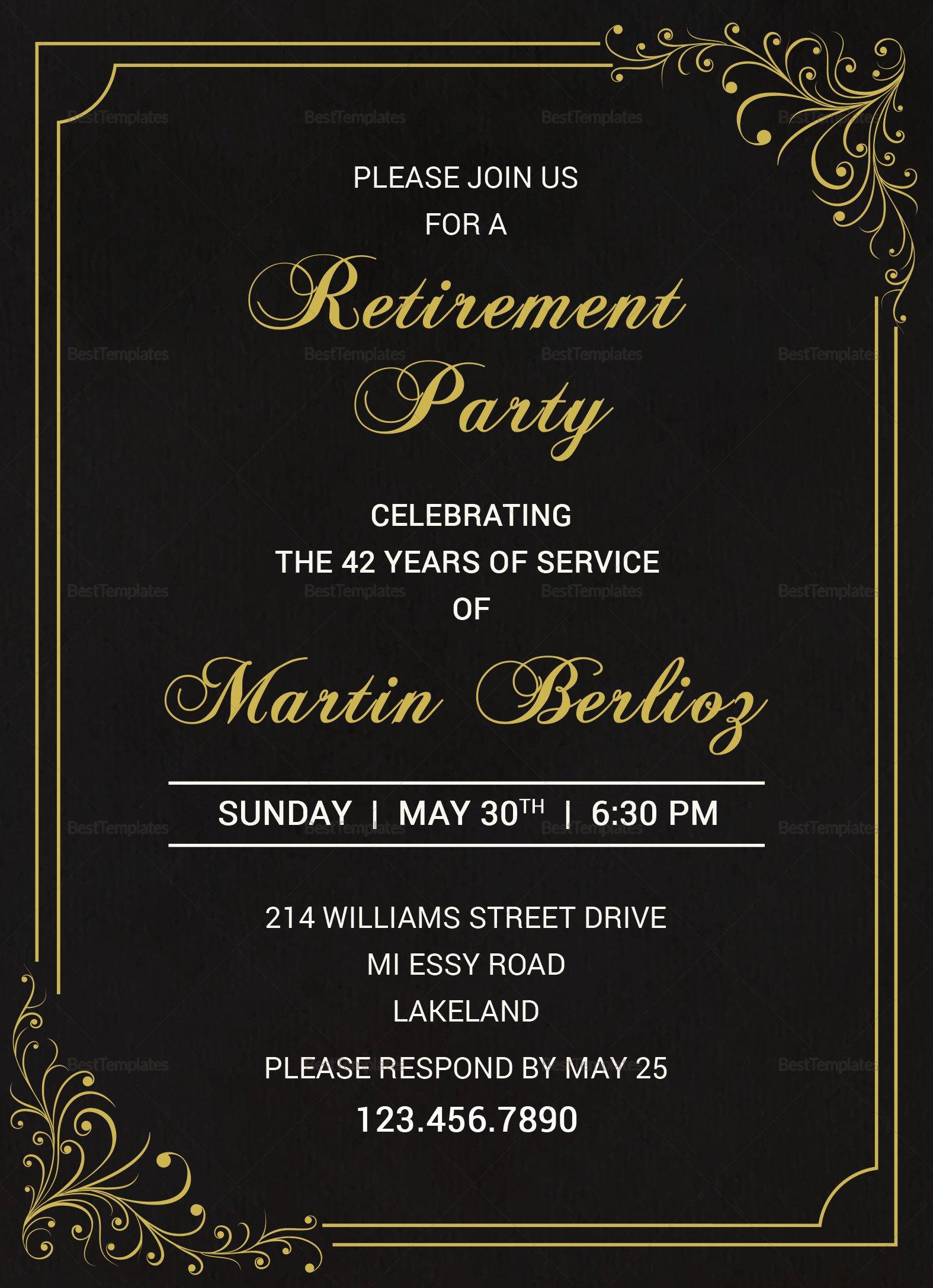 Black and Gold Invitation Template Black Gold Retirement Invitation Design Template In Psd