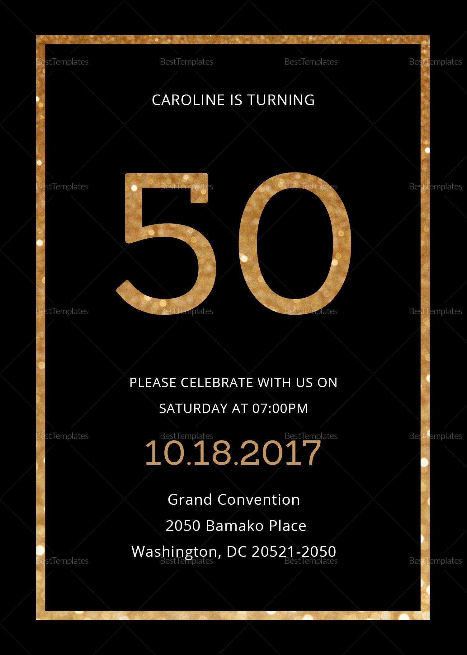 Black and Gold Invitation Template Elegant Black and Gold 50th Birthday Invitation Design