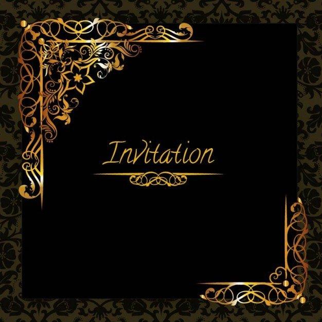 Black and Gold Invitation Template Elegant Golden Design Invitation Template Vector