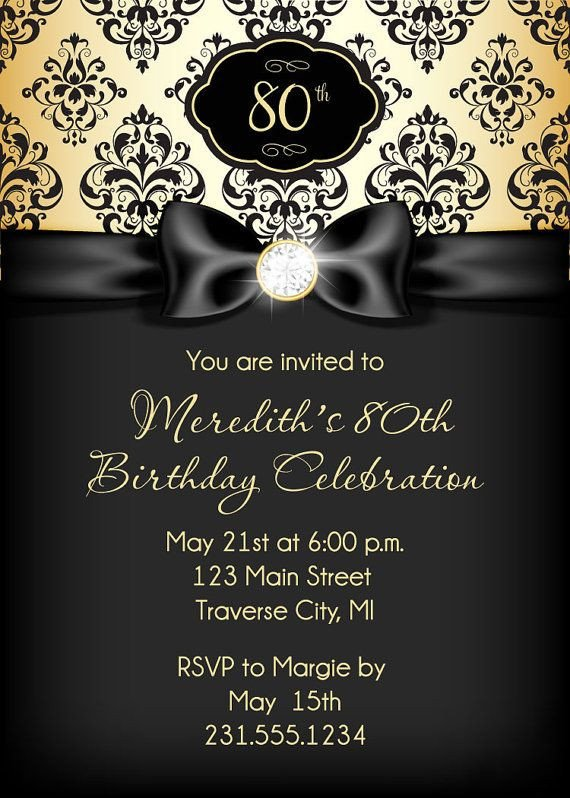 Black and Gold Invitation Template formal Birthday Invitation Template Birthday Invitation