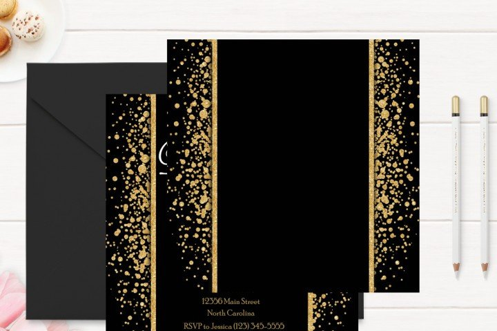 Black and Gold Invitation Template Gold and Black 50th Birthday Invitation Template by