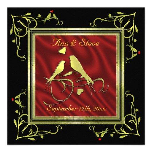 Black and Gold Invitation Template Gold Black Red Lovebirds Invitation Template