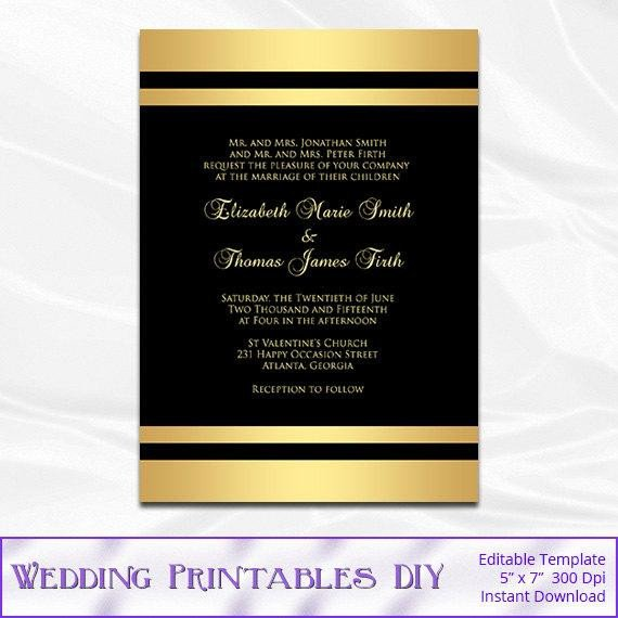 Black and Gold Invitation Template Items Similar to Black and Gold Wedding Invitation