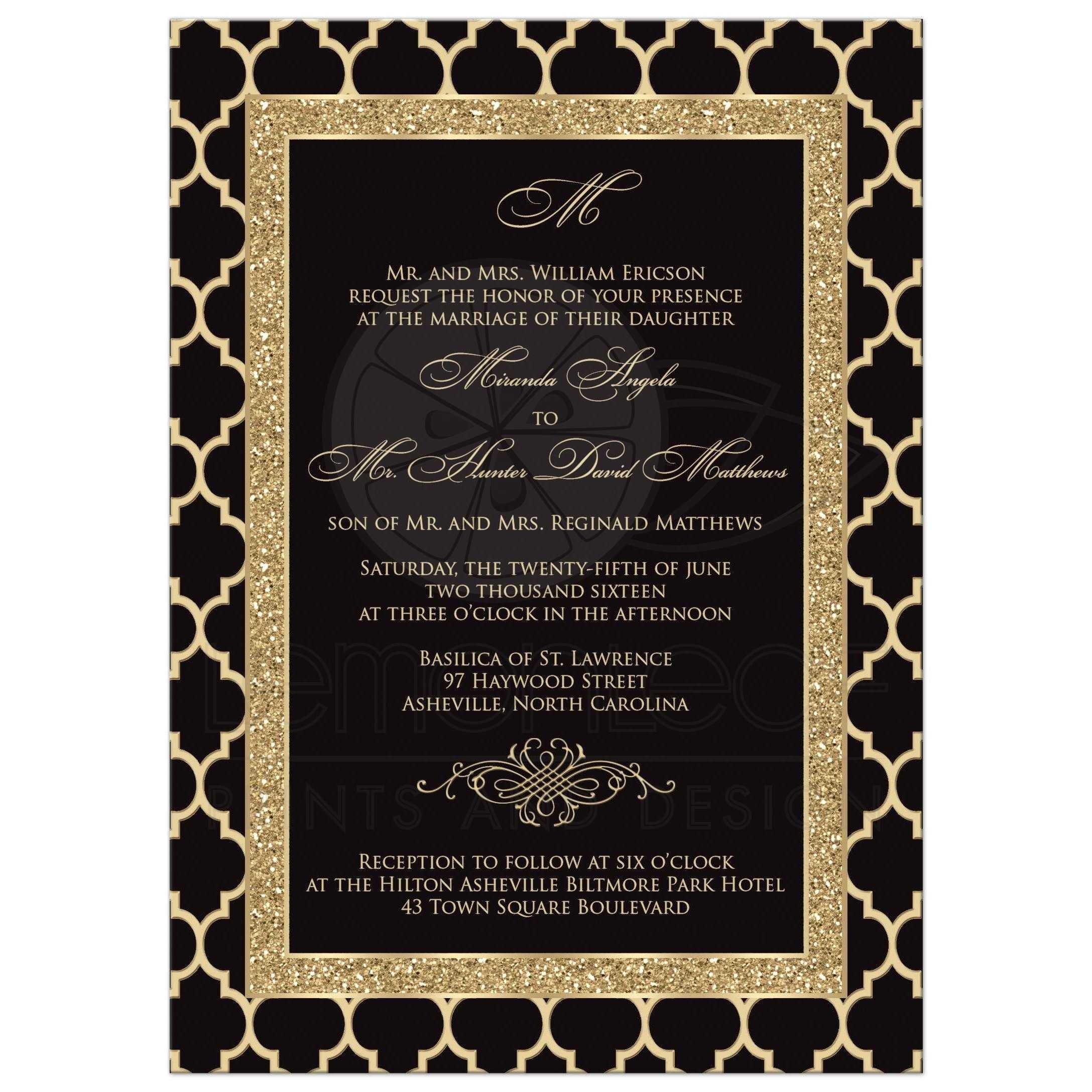 Black and Gold Invitation Template Monogrammed Wedding Invitation