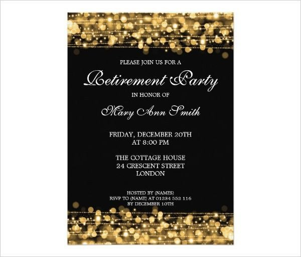 Black and Gold Invitation Template Pin by Faye Camp On Retirement Invitations