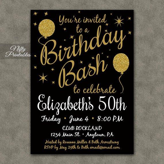 Black and Gold Invitation Template Printable Birthday Invitations Black Gold Glitter 20 21 30th