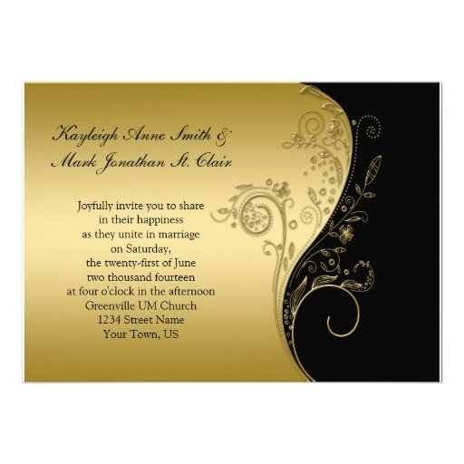 """Black and Gold Invitation Template Vintage Black and Gold Wedding Invitation 5"""" X 7"""