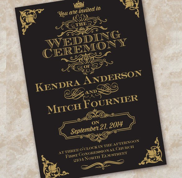 Black and Gold Invitation Template Wedding Invitation Etiquette 17 Psd Indesign format