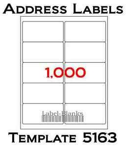 "Blank Address Label Template 1000 Laser Ink Jet Labels Blank Address 100 Sheets 4""x 2"