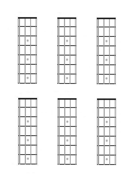 Blank Bass Fretboard Diagram Four String Bass Guitar Charts Fretboard Diagrams