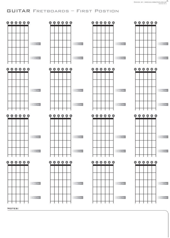 Blank Bass Fretboard Diagram Free Design Woodworking Guitar Bracing Templates