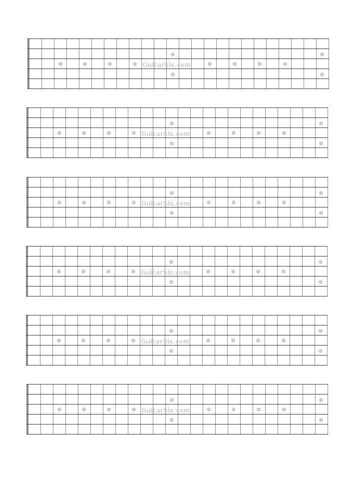 Blank Bass Fretboard Diagram Guitar Fretboard Paper