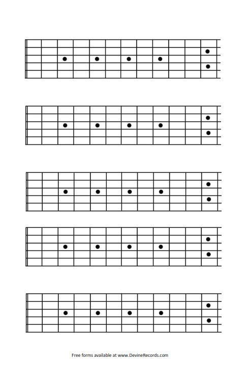 Blank Bass Fretboard Diagram Pin by D Warner On Guitar Tabs In 2019