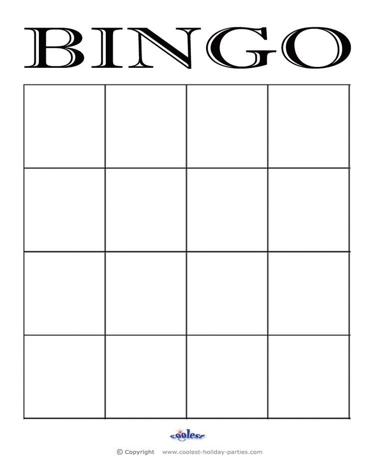 Blank Bingo Card Template Bingo Card Template