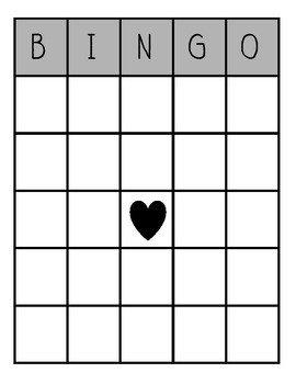 Blank Bingo Card Template Blank Bingo Board by Katie Afanador