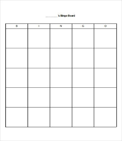 Blank Bingo Card Template Free Bingo Card 8 Free Word Pdf Documents Download