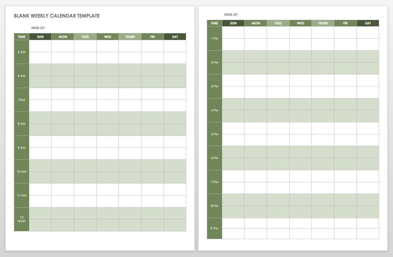 Blank Calendar Template Word 15 Free Weekly Calendar Templates
