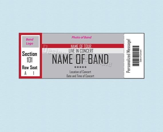 Blank Concert Ticket Template Custom Concert Sporting event or Broadway Show Ticket