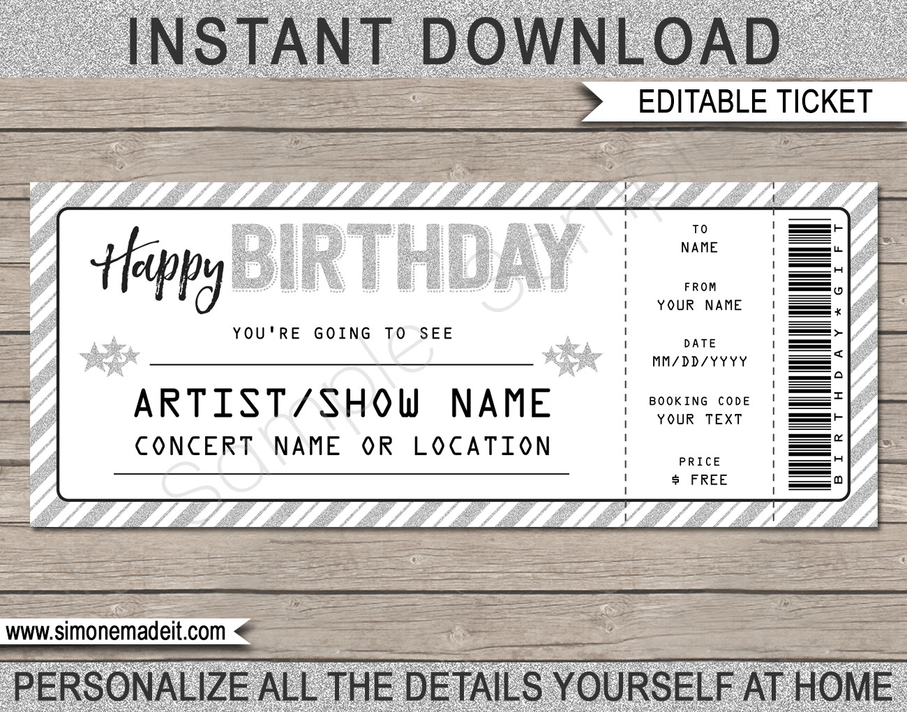 Blank Concert Ticket Template Printable Concert Ticket Template