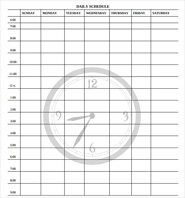 Blank Daily Schedule Template 23 Printable Daily Schedule Templates – Pdf Excel Word