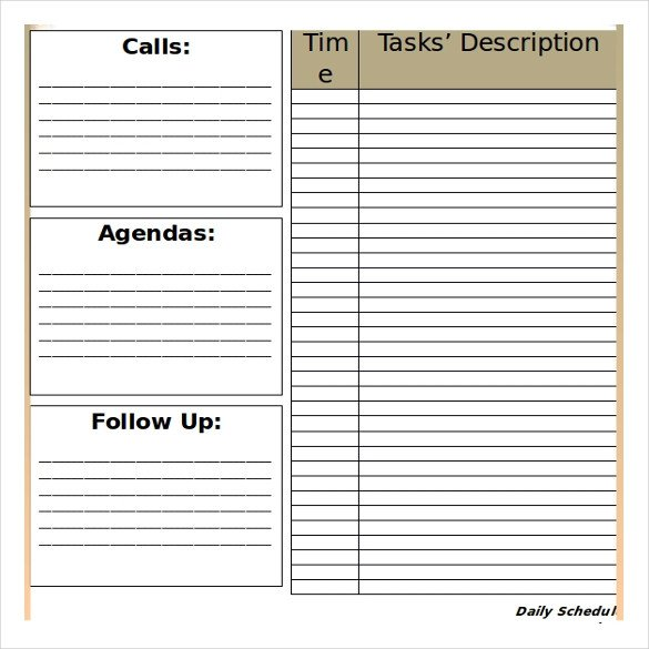 Blank Daily Schedule Template 25 Free Microsoft Word Schedule Templates