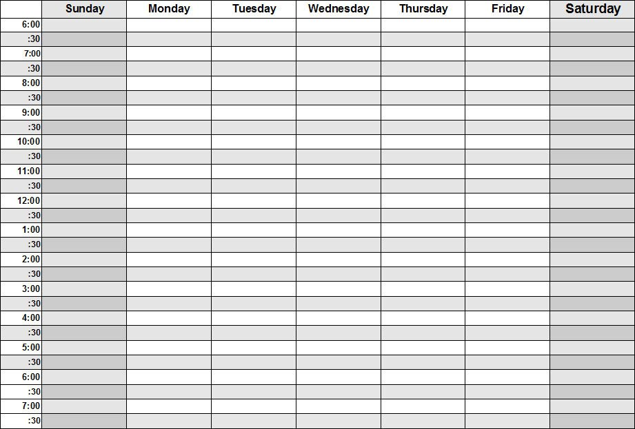 Blank Daily Schedule Template Blank Calendars Weekly Blank Calendar Templates