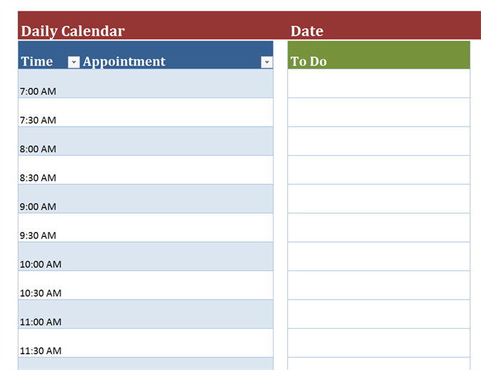 Blank Daily Schedule Template Blank Daily Calendar