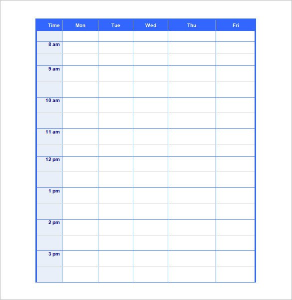 Blank Daily Schedule Template Blank Schedule Template 23 Free Word Excel Pdf format