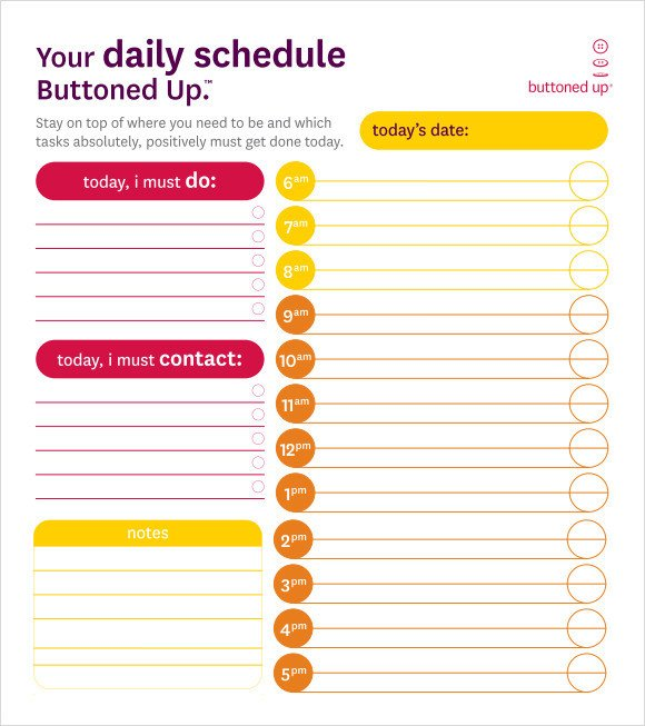 Blank Daily Schedule Template Blank Schedule Template 6 Download Free Documents In Pdf