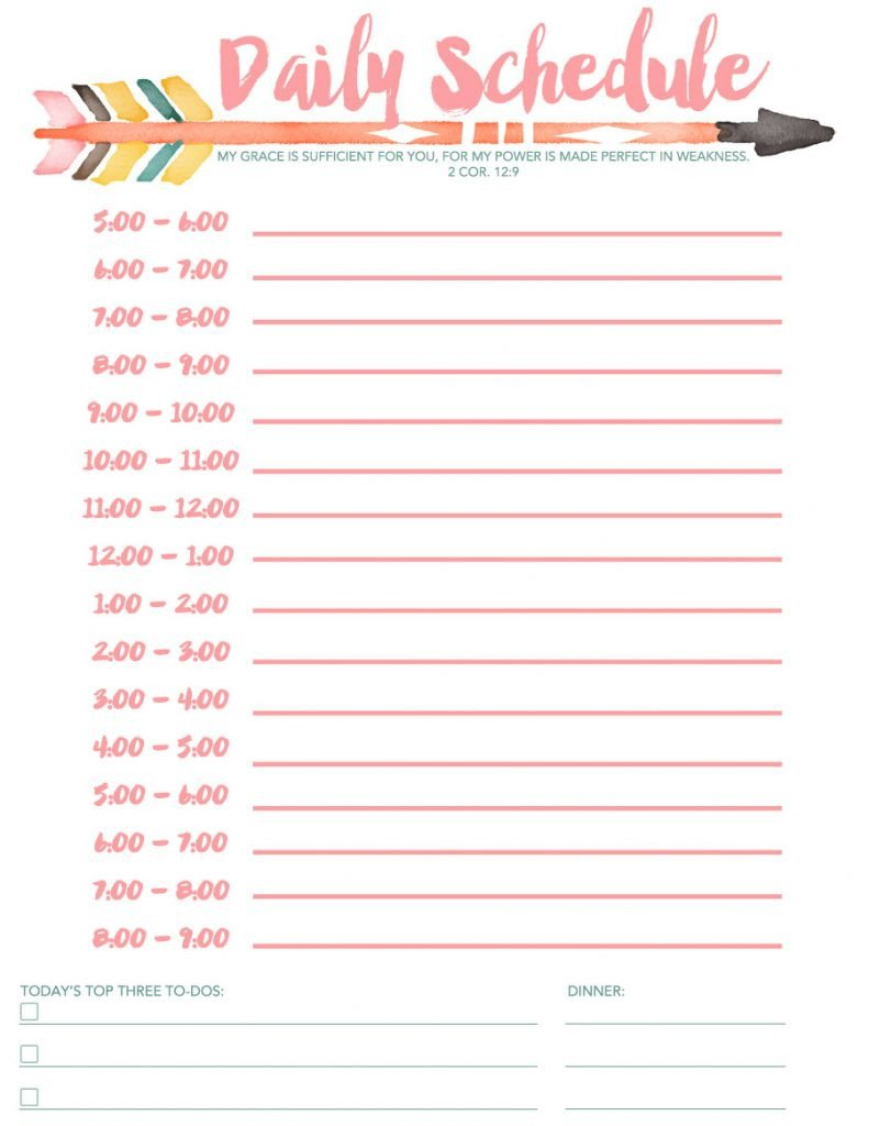 Blank Daily Schedule Template Daily Schedule Free Printable
