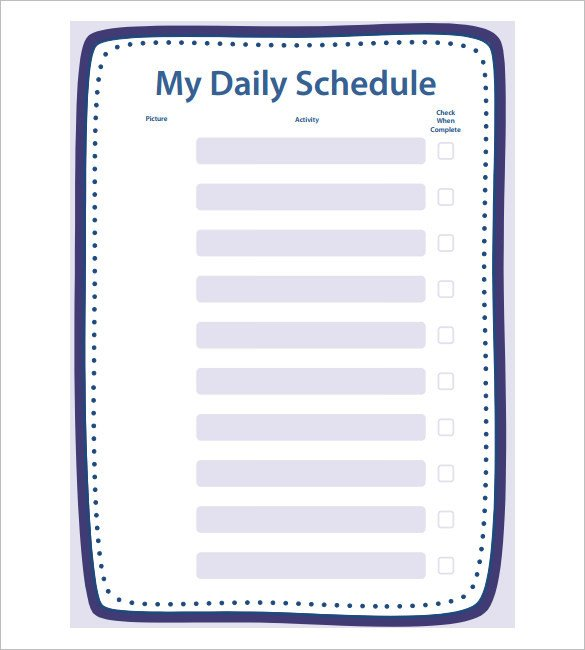 Blank Daily Schedule Template School Schedule Template 13 Free Word Excel Pdf