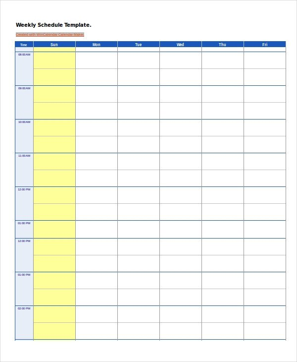 Blank Daily Schedule Template Work Schedule 14 Free Pdf Word Excel Documents