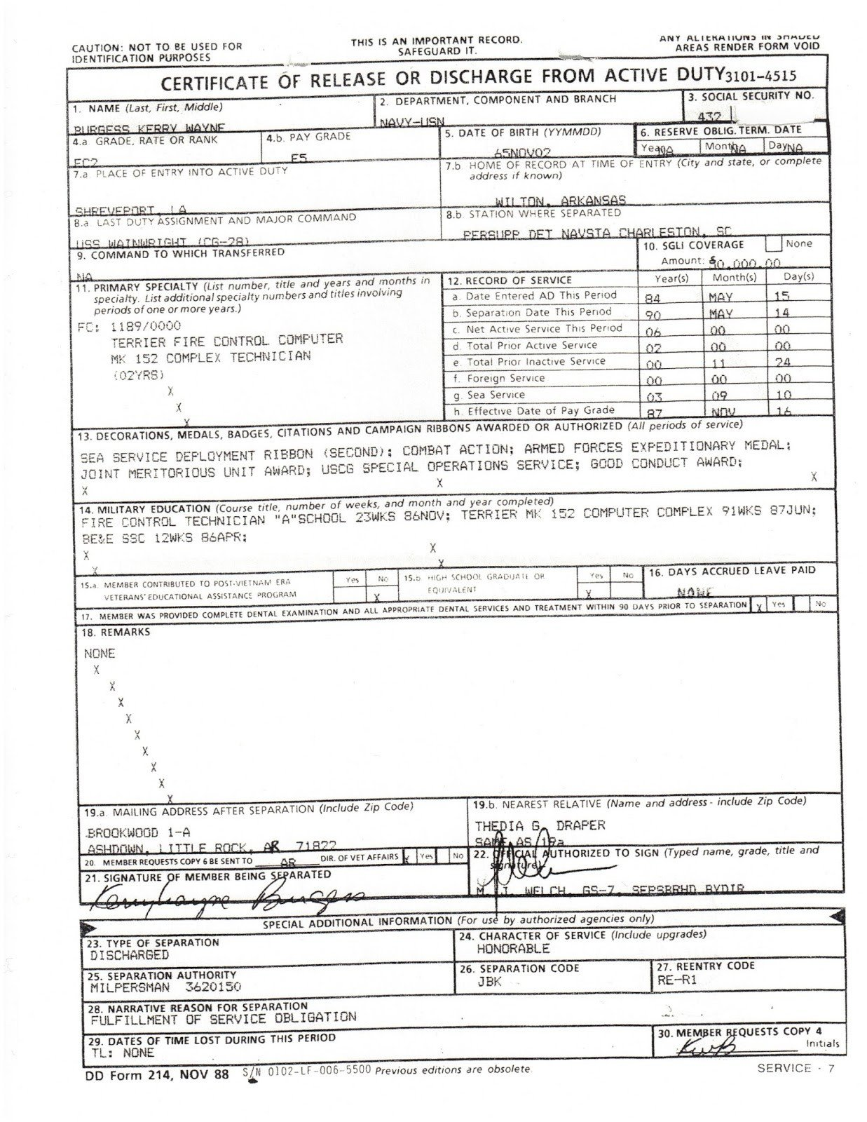 Blank Dd form 214 Pdf What Does A Dd214 Look Like