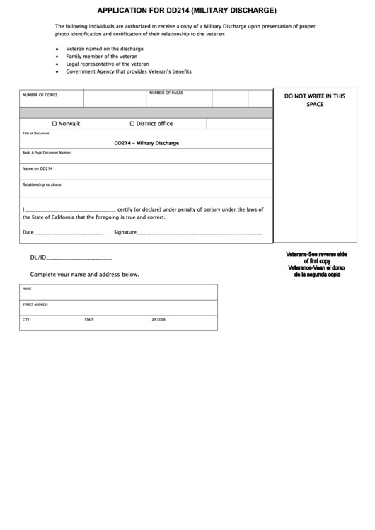 Blank Dd214 form Download Fillable Application for Dd214 Military Discharge