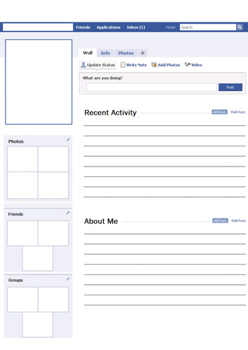 Blank Facebook Profile Template Blank Profile Worksheet Activity by Svroddam