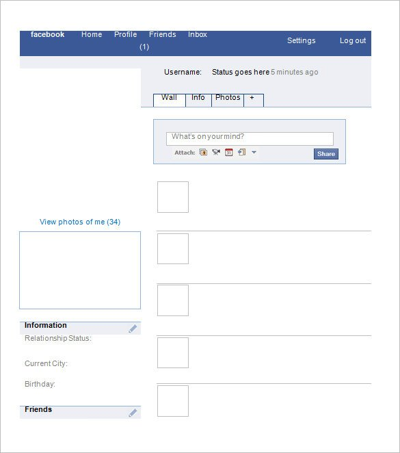 Blank Facebook Profile Template Blank Template – 11 Free Word Ppt & Psd