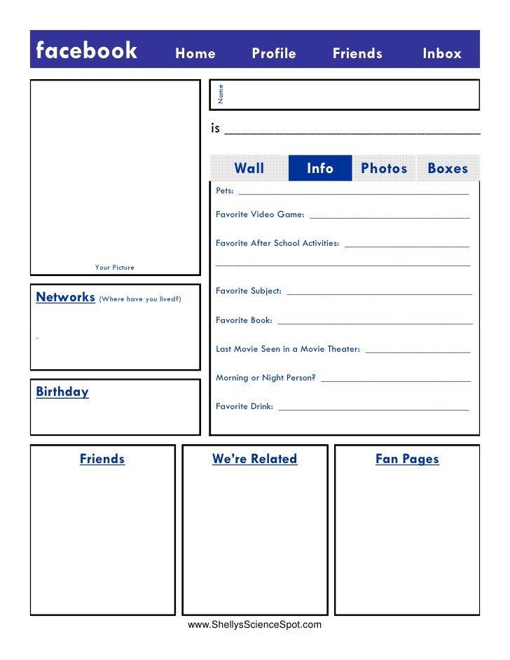 Blank Facebook Profile Template Blank Template