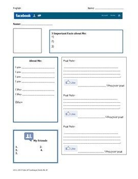 Blank Facebook Profile Template Character Profile Blank Template by Stephanie