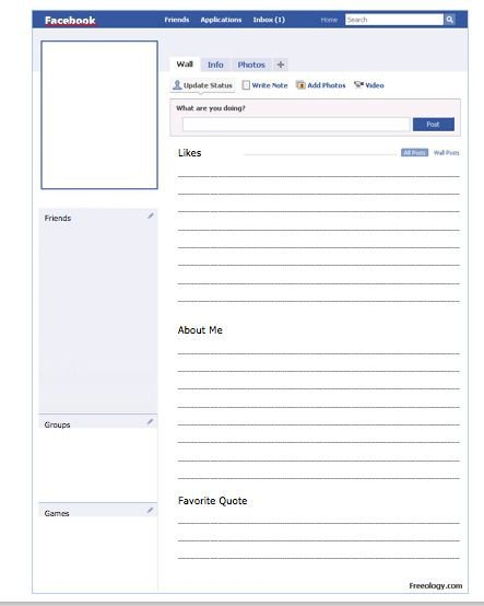 Blank Facebook Profile Template Pin by Kirbie Kelly On Classroom Ideas