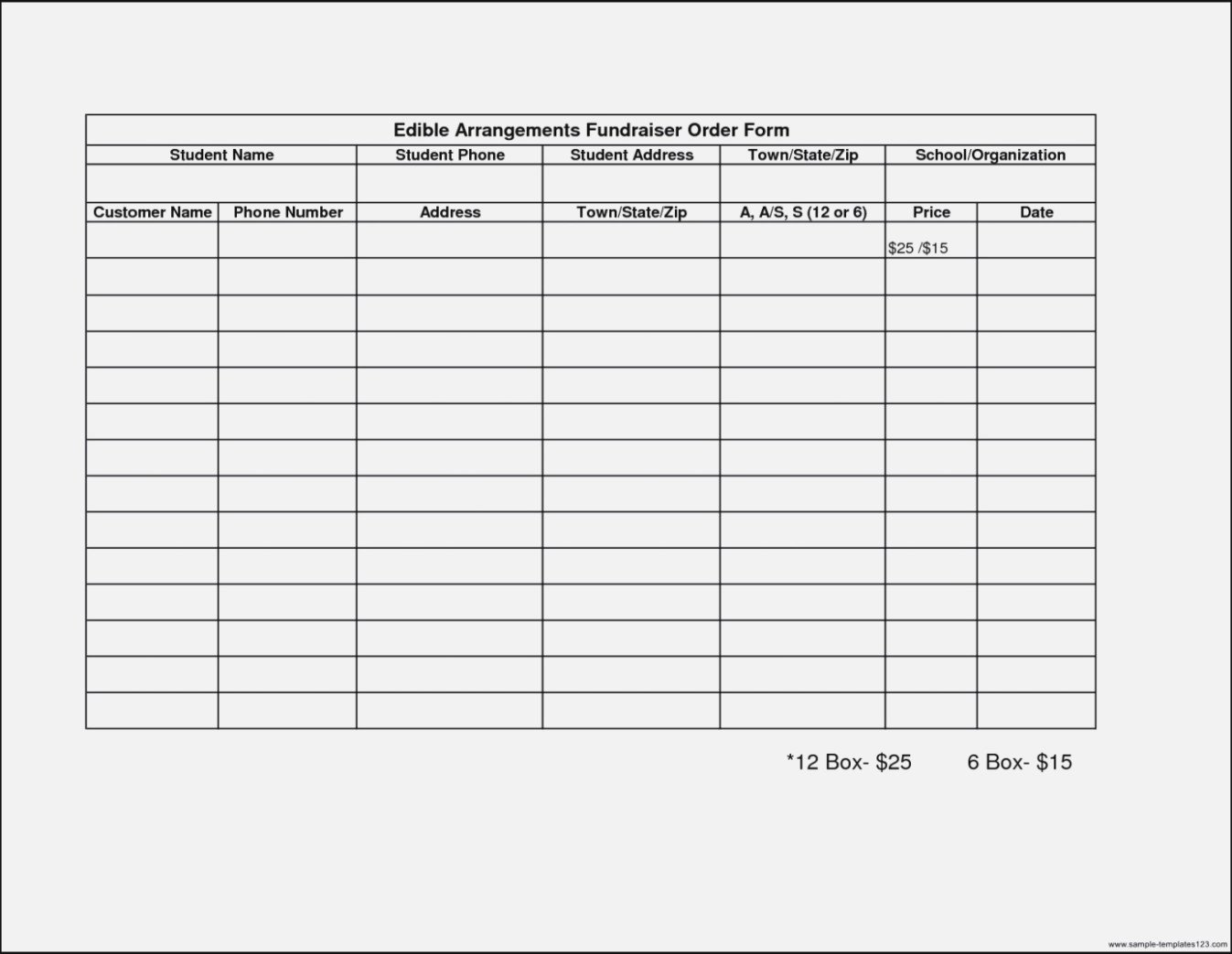 Blank Fundraiser order form Template 12 Ideas to organize Your Own Fundraiser