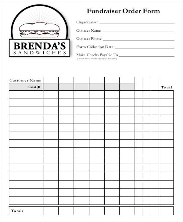 Blank Fundraiser order form Template Free Sample order form 12 Examples In Word Pdf