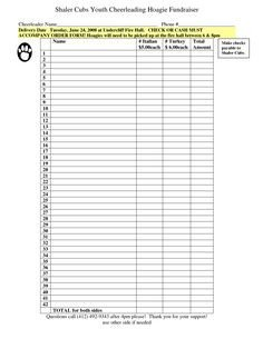 Blank Fundraiser order form Template Pin by Angela anderson On Fundraising forms