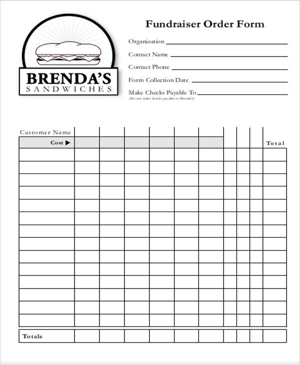 Blank Fundraiser order form Template Sample Fund Raiser order form 9 Examples In Word Pdf