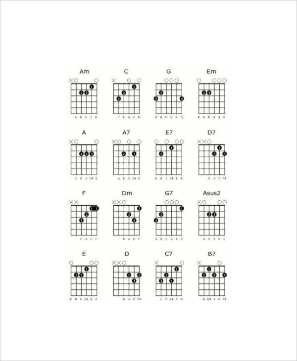 Blank Guitar Chord Chart 5 Blank Guitar Chord Charts Free Sample Example