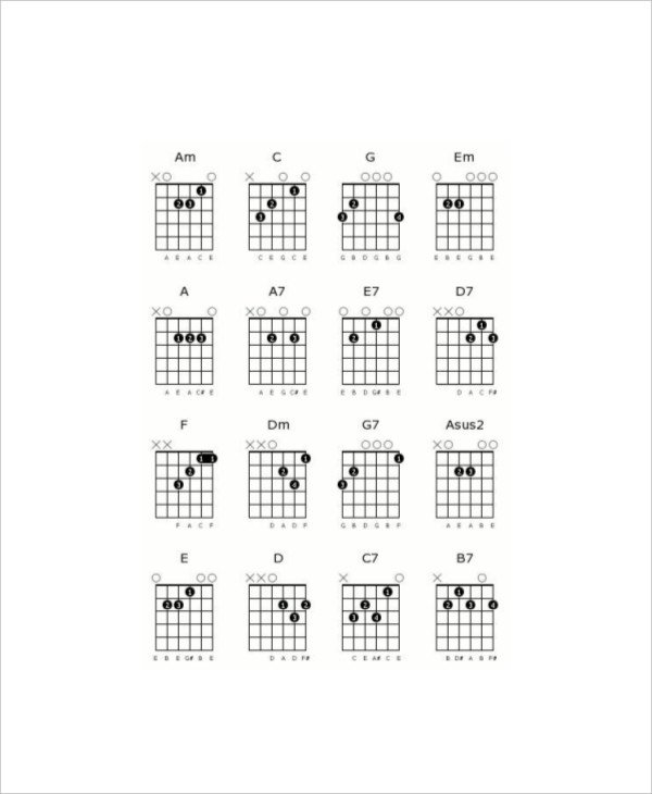 Blank Guitar Chord Sheet 5 Blank Guitar Chord Charts Free Sample Example