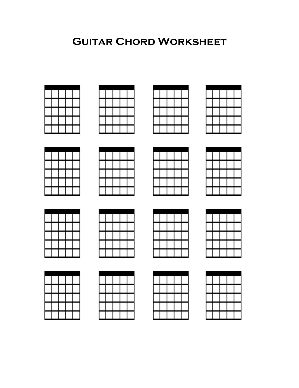 Blank Guitar Chord Sheet Guitar Chords Playing Guitar and Guitar On Pinterest