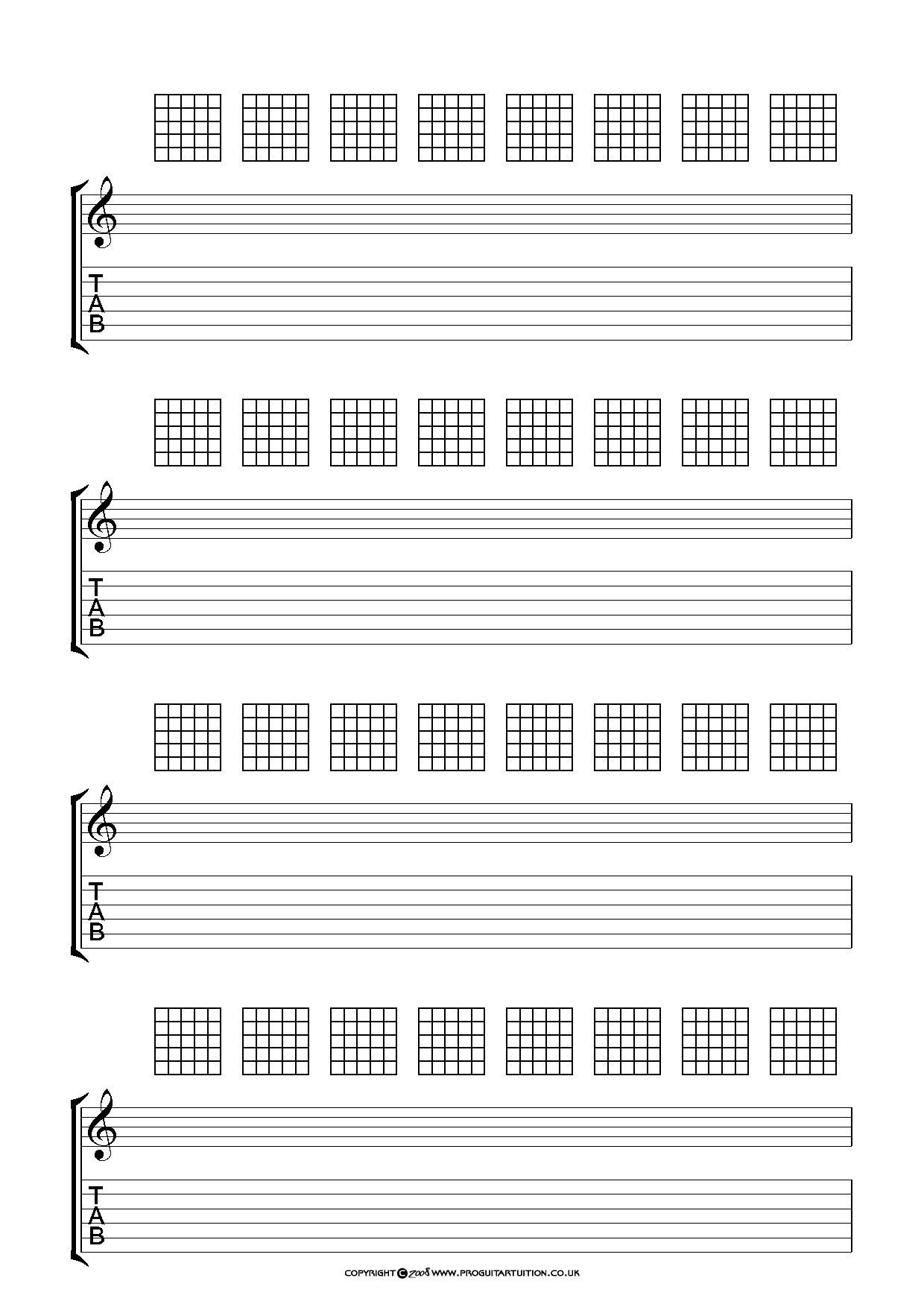 Blank Guitar Tab Sheets Blank Chord Sheets Google Search Music