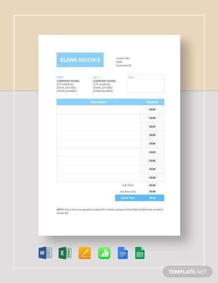 Blank Invoice Template Google Docs 54 Blank Invoice Template Word Google Docs Google Sheets