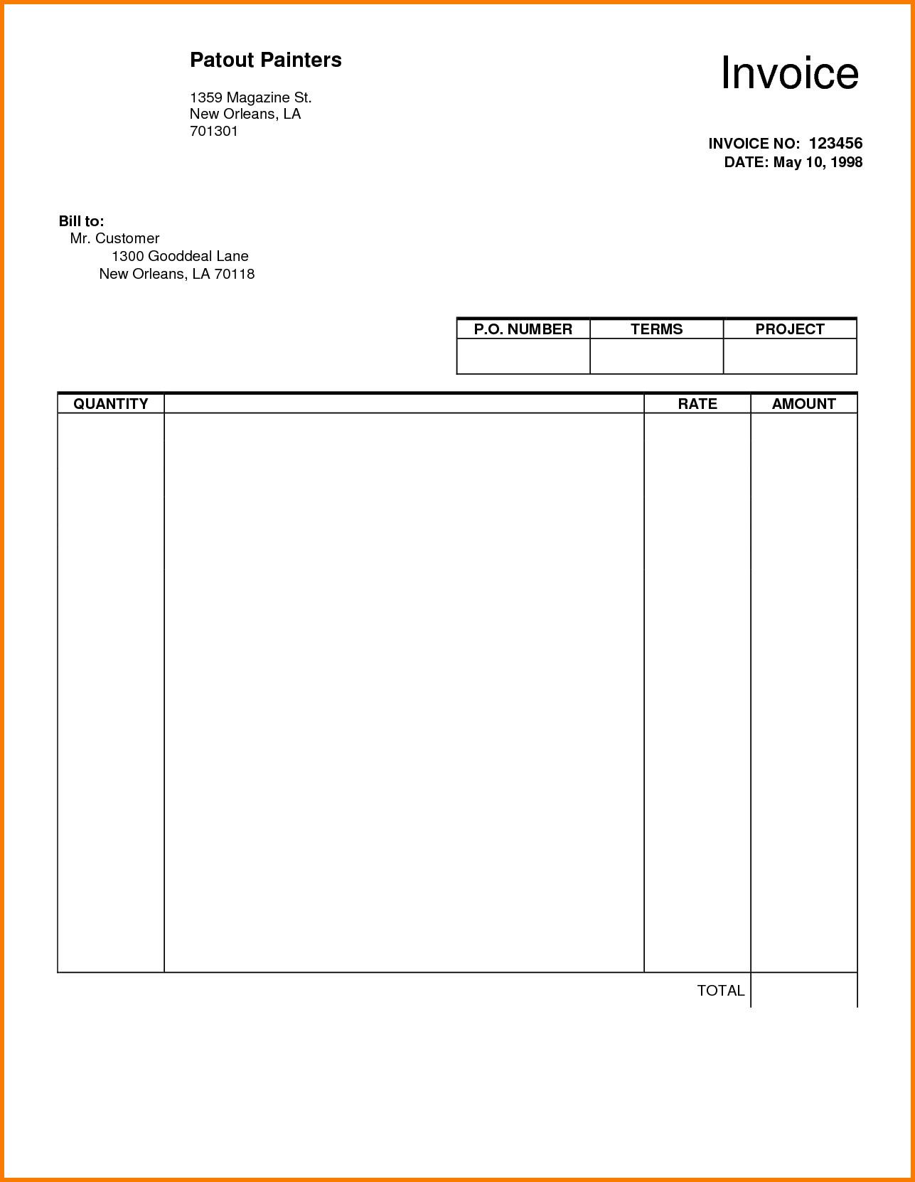 Blank Invoice Template Pdf Blank Invoice Pdf